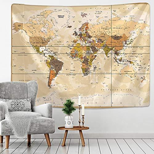 PPOU Tela de Mapa del Mundo Retro brújula de Color geométrico Tapiz Colgante de Pared Pintura al óleo Retro Mapa del Tesoro Pirata A7 150x200cm