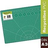OfficeTree Tappetino da Taglio - 45x30 cm (A3) Verde - Cutting Mat - Reticolo e marcature su Entrambi i Lati per Tagli Professionali - PVC a 3 Strati riciclabile