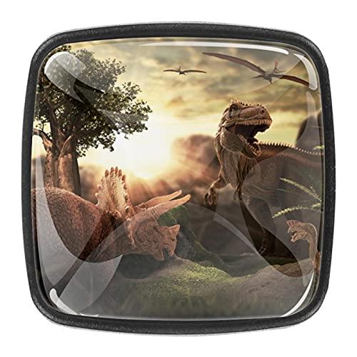 (4 piezas) pomos de cajón para cajones, tiradores de cristal para gabinete con tornillos para gabinete, hogar, oficina, armario, dinosaurio, 3D, gigante de 35 mm