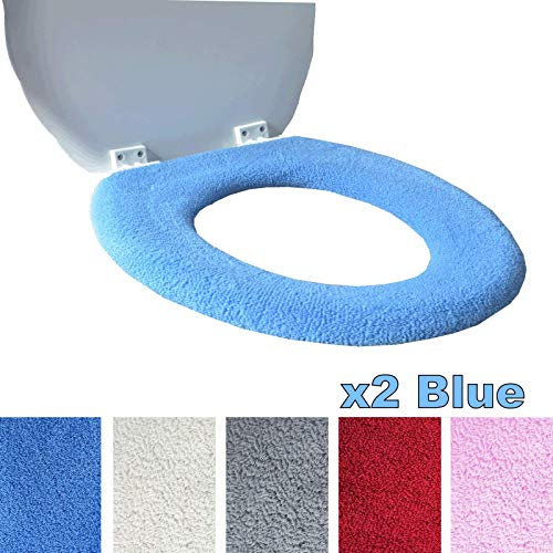 Medipaq Toilet Seat Cover - Super Warm Fleece - Retaining Ring - Universal Fit - Machine Washable 2X Blue