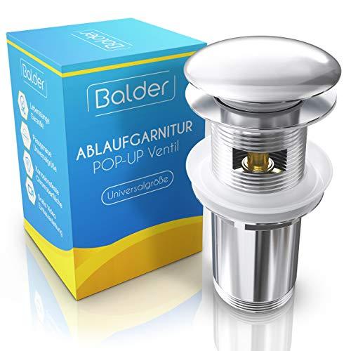 Balder Universele afvoerset met overloop - Chroom pop-up ventiel voor wastafel & spoelbak - Nauwkeurig passende messing afvoerklep - Vrije pakkingen - Incl. video-installatie-instructies [zonder gereedschap].