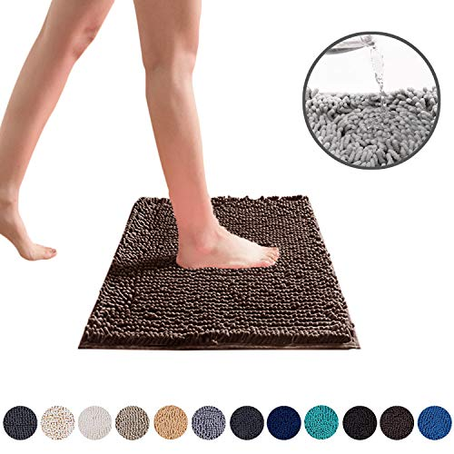 DEARTOWN Non-Slip Shaggy Bathroom Rug,Soft Microfibers Chenille Bath Mat with Water Absorbent, Machine Washable(Brown,20x32 Inches)