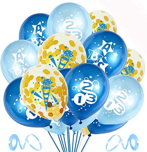Bluelves Einschulung Deko Junge, 30x Luftballon Schulanfang Jungen, Luftballons Blau für Schuleinführung Einschulung Schulanfang Schulstart Deko Ballons mit ABC und 123 Motiv