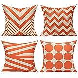 All Smiles Naranja Exterior Fundas de Cojines y Almohadas Decorativas para Patio para Muebles de Interior 45x45CM ,4PC para el Porche del Hogar Silla Sofá en Sala de Estar Geométrica