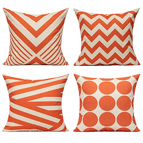 All Smiles Orange Throw Pillow Cases Decorative Cushion Covers 20x20 Set of 4 Outdoor Accent Oversized Square Home Décor for Sofa Couch Patio Chair Bed