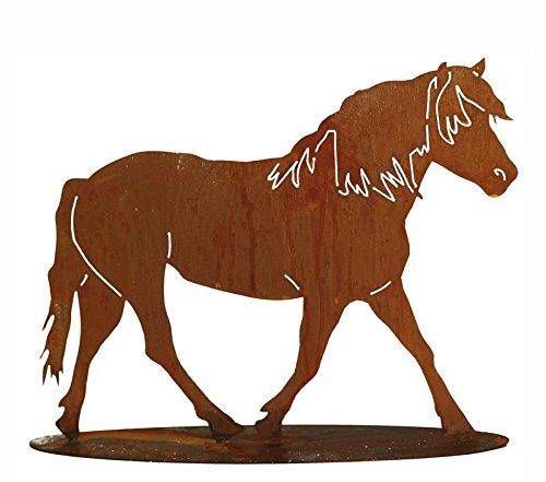 Rost Tierfigur - Großes Metall Pferd/Mustang/Hengst/Pony - Höhe 75cm / Breite 100cm - Rost Dekoration/Metallfigur/Gartenfigur/Dekopferd/Pferdedeko/Metallpferd