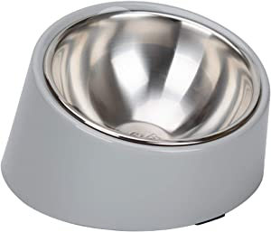 Super Design Mess Free 15° Slanted Bowl for Dogs and Cats, Tilted Angle Bulldog Bowl Pet Feeder, Non-Skid & Non-Spill, Easier to Reach Food L/3 Cup Grey