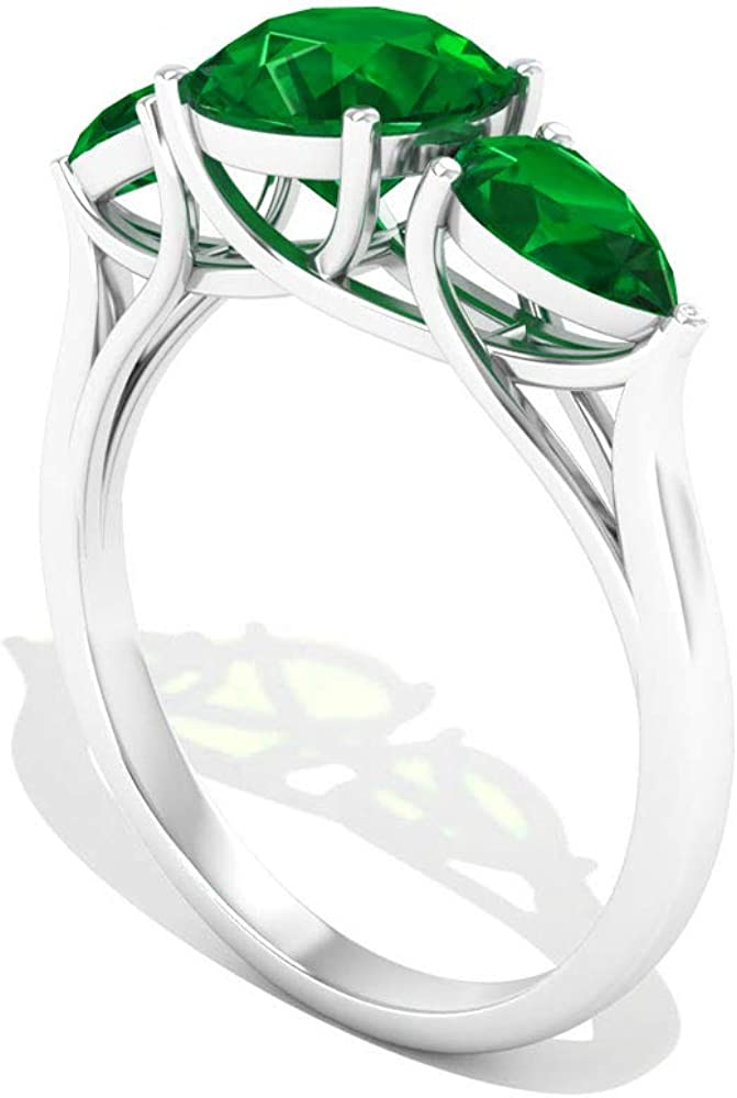 2.6 CT Round Opening large release sale Pear Shape SGL Ring Engagement Emerald Certified Trust M
