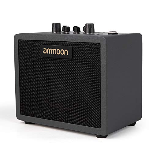 ammoon Mini Guitar Amplifier Desktop 5W Amp Built-in 7 Preamp Models 4 Effects 40 Drum Rhythms Supports Wireless BT Connection AUX Input Headphone Output with Power Adapter - Black