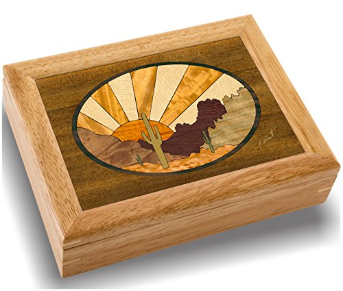MarqART Horse Wood Art Jewelry Trinket Box & Gift - Handmade USA - Unmatched Quality - Unique, No Two are The Same - Original Work of Wood Art (#2128 Stallion 6x8x2)