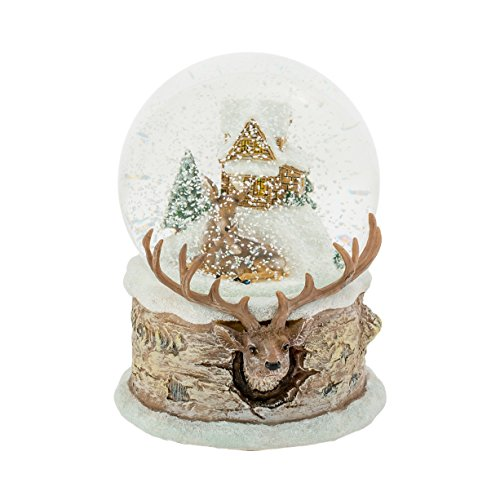 Christmas Snow Globe with Deer and Fawn Family Design, 5 1/2 Inch