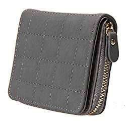 Bestvech Womens Pu Leather Plaid Purses Nubuck Card Holder