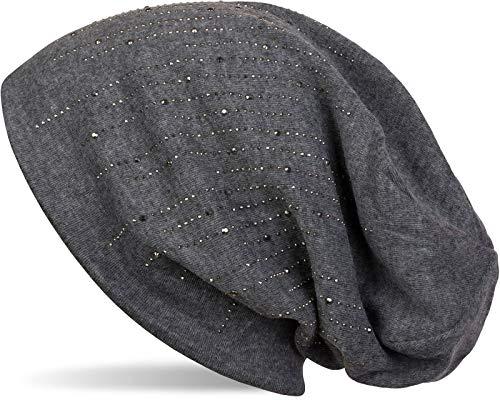 styleBREAKER Damen Beanie Mütze mit Strass Nieten im edlen Streifen Design, Slouch Longbeanie 04024086, Farbe:Dunkelgrau meliert