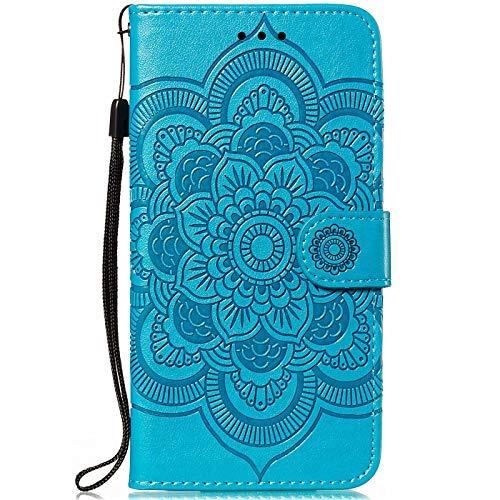 CTIUYA Hülle für Nokia 5.1 Plus, Handyhülle Schutzhülle Flip Hülle Tasche Hülle Leder Geldbörse Klapphülle Kartenfach Brieftasche Magnet Handytasche Lederhülle für Nokia 5.1 Plus,Blau