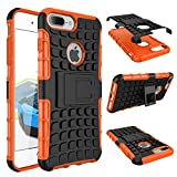 iPhone 7 8 Plus Armor Case with Kickstand Hard Heavy Duty Rubber Dual Layer Drop Protection 7/8Plus Shockproof Cover (Orange)