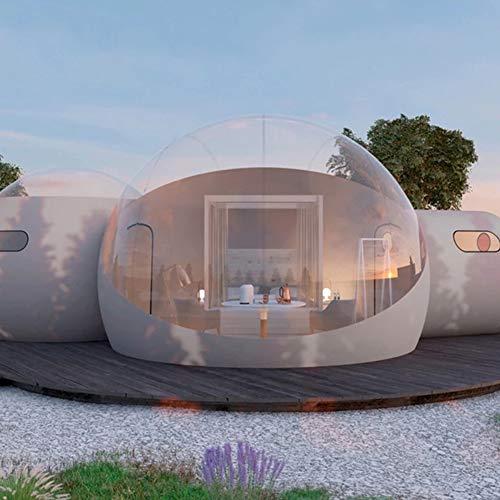 D&F Inflable Transparente Tienda Jardín Iglú Doble Túnel Tienda de Burbujas Cúpula 360 Transparente Al Aire Libre Lujoso para Familia Cámping Jardín detrás de la casa 3M + 2M + 2M (Personalizable)