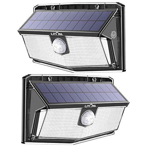 300 LED Luci Solari Esterno,LITOM Luce Solare Sensore ccon sensore tattile 4 Modalità di Illuminazione,2 temperature di colore, Impermeabile IP67 Lampada Solare per Giardino[2 Pezzi]