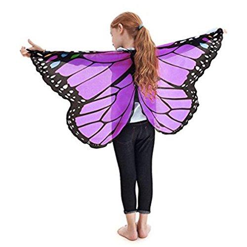 Faschingskostüme Schmetterling Schal Kinder Kostüm Schmetterlingsflügel Pixie Halloween Cosplay Schmetterlingsf Butterfly Wings Flügel LMMVP (A- Lila)