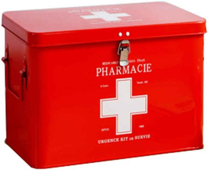 Lxrzls Medical Free shipping anywhere in the nation Drug Storage Box Portable Aid Max 70% OFF Red Kit Metal First
