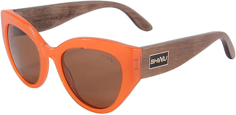 EYES Women's Polarized Driving Sunglasses Cat Eyes Acetate Fibre Frame Wood Leg TAC Lens UV Predection Beach Vacation Outdoor Sunglasses Outdoor (color   orange)