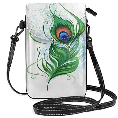 Jiger Women Small Cell Phone Purse Crossbody,Bird Feather With Stained Watercolor Background Abstract Nature Tattoo Style