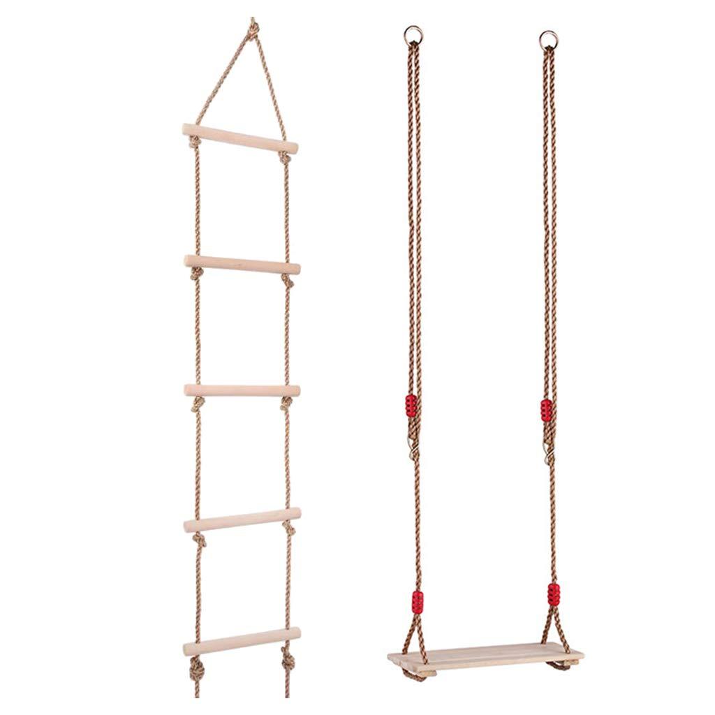 B Baosity Escalera de Cuerda de Escalada de 5 Peldaños a Carga de 300kg + Silla de Columpio Plana con Cuerda Ajustable Carga de 100kg: Amazon.es: Juguetes y juegos