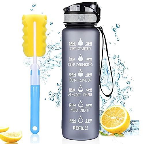Borraccia Acqua Sportiva 1L, MEGAHUA Borracce da Escursionismo 1000ml Bottiglia Bici Plastica Contrassegno del Tempo Motivazionale, Tritan Senza BPA, Senza Perdite con Filtro, 1 Clic Aperto (Grigio)