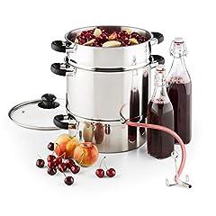 Klarstein Applebee – Elektrisk ångjuicer, fruktjuicer av rostfritt stål, 1500 W Starkt värmeelement, integrerat 1500 W, 8 L volym, 25 cm, svala touchhandtag, inkl.