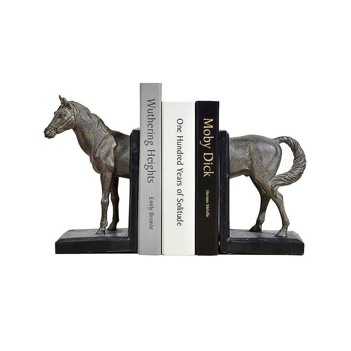 消費合体ミネラルブックエンド装飾ブックエンド中国風のレトロな樹脂馬の頭本の屋台装飾品の研究書棚クリエイティブブック拡大するブックエンドの装飾品動物家具アートブックエンド