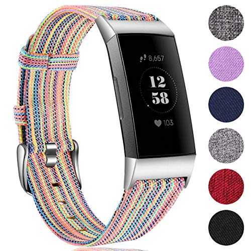 Ouwegaga Woven Armband Kompatibel mit Fitbit Charge 4 Armband/Fitbit Charge 3 Armband, Ersatzband Gewebte Stoff Armband Kompatibel mit Fitbit Charge 3/Charge 4, Groß Bunt