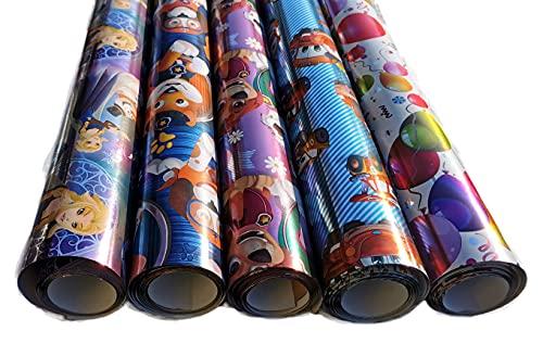Edel Glänzendes Metallic Geschenkpapier für Kinder, Mädchen und Jungs Geburtstag Schulanfang Taufe Fete Geschenkverpackung 5 Rollen Set je 70 cm x 2 m