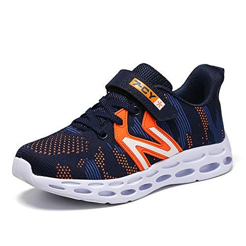 HSNA Zapatillas para Niño Antideslizante y absorción de Golpes Zapatos Correr Transpirables Ligero(Azul Oscuro 34 EU)