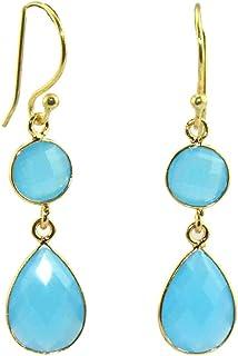 Myesha Jewels Designer Pear & Round Sky Blue Chalcedony Hook Drop Dangle Earring Jewelry, Fancy Party Wear Earrings for Gi...