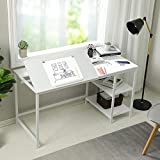 "Sedeta Drafting Table, 55"" Drawing Table with Adjustable Tiltable Tabletop, Multi-Function Modern Office Desk with Storage Shelves, Large Computer Desk Writing Art Craft Work Station, White"
