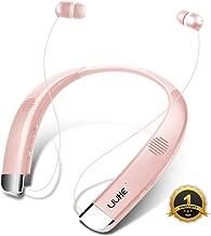 [Newest V5.0] Bluetooth Headphones Speaker 2 in 1 LIUHE Neckband Portable Wireless Headset Wearable Speaker True Stereo Sound Sweatproof Headphones with Retractable Earbuds Built-in Microphone