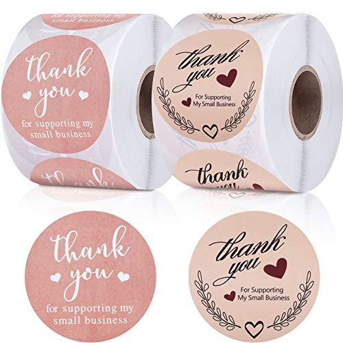 2 Pulgadas Pegatinas de Thank You for Supporting My Small Business 2 Diseños Etiquetas Redondas de Decoración de Sellos Sobres para Propietarios de Pequeñas Empresas Bolsa Caja Tejido (1000 Piezas)
