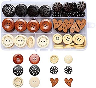 Large Assorted Round Heart Wood Wooden Buttons Muti for Crafts Supplies Sewing 4 Holes Black Brown Beige Handmade Button with Box 120pcs