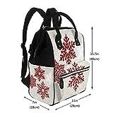 Mochila multifunción con diseño de copos de nieve rojos brillantes para cambiar pañales, bolsa de maternidad, impermeable, de viaje, gran capacidad