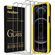 ivoler [4 Pack] Diamonds Hard Designed for iPhone 12 Pro Max Screen Protector [Military Grade Shatterproof] [Eye Protection] [Easy Installation Tray],9H Hardness Tempered Glass 6.7''-Work Most Case