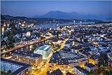 Poster 91 x 61 cm: Luzern bei Nacht von Jan Christopher