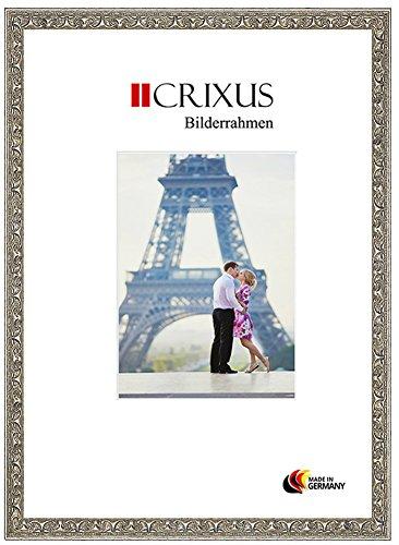 CRIXUS Crixus30 Echtholz Bilderrahmen für 50 x 60 cm Bilder, Farbe: Alt Silber Relief, mit entspiegeltem Acrylglas, Aussenmaß: 54,8 x 64,8 cm
