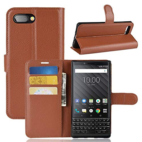 Sangrl Leder Lederhülle Schutzhülle Für BlackBerry Key 2, Wallet Tasche Für BlackBerry Key 2, mit Halterungsfunktion Kartenfächer Flip Hülle Braun