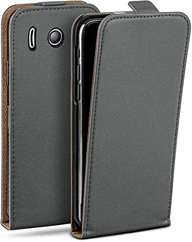 moex Flip Hülle für Huawei Ascend Y300 - Hülle klappbar, 360 Grad Klapphülle aus Vegan Leder, Handytasche mit vertikaler Klappe, magnetisch - Grau