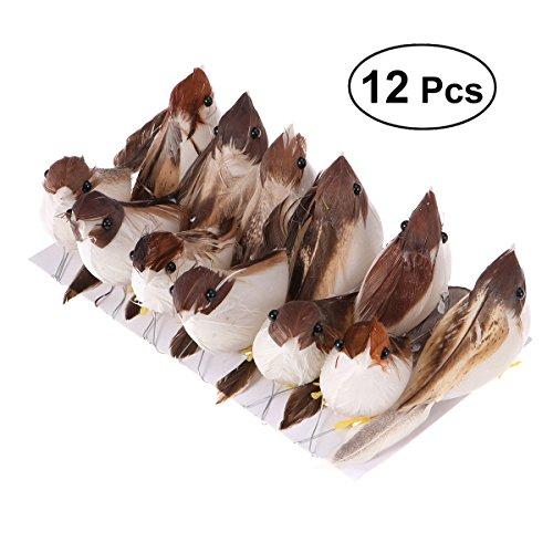 WINOMO 12pcs artificial pluma pájaro Mignon réaliste espuma pájaros fotos accesorios casa mesa jardín bonsái Décor