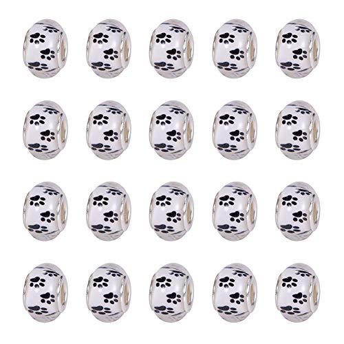 NBEADS 100 Piezas 14 mm Blanco Acrílico Huellas de Perro Huellas Huellas Grandes Agujero Europeo...