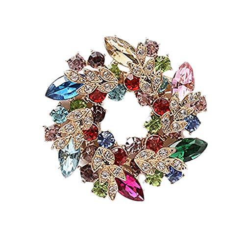 Cosanter - Spilla da Donna Brooch a Forma Ghirlanda Clip Sette Colori Sciarpa Abbigliamento Adatto per Banchetti Matrimoni Party Decor(Sette Colori)