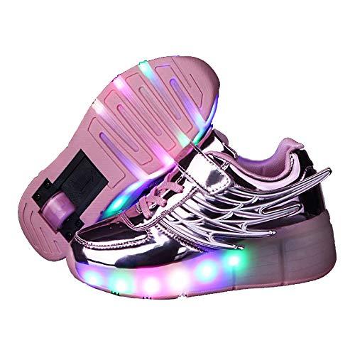 Rolschaatsen schoenen, led-oplichtende schoenen, wielen schoenen, sport sneaker met led, comfortabele beginners cadeau voor mannen meisjes jongens (Color : Gold, Size : 28) 28 Roze