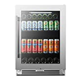 LanboPro 24 Inch Stainless Steel Undercounter Beverage Refrigerator 118 Can Capacity Triple-Layer Tempered Glass Door