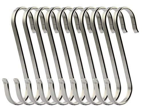 Xstar Hook Gancho en forma de S Cocina S Gancho Acero inoxidable Metal Colgador Gancho Pan Colgador Metal S Gancho para almacenamiento de cocina (10S Hook)