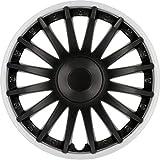 Cartrend 10561 Radzierblenden Topeka in sportlicher Alufelgen-Optik schwarz/Silber, 4-teilig, 38,10 cm (15 Zoll) 4er Set